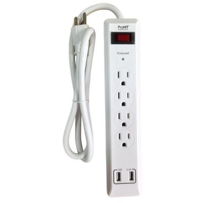3 ft. 4-Outlet Surge Protector with 2 USB Ports