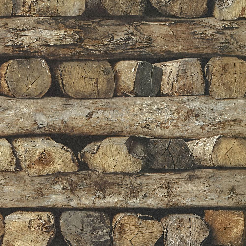 Advantage 56.4 sq. ft. Bighorn Brown Logs Wallpaper
