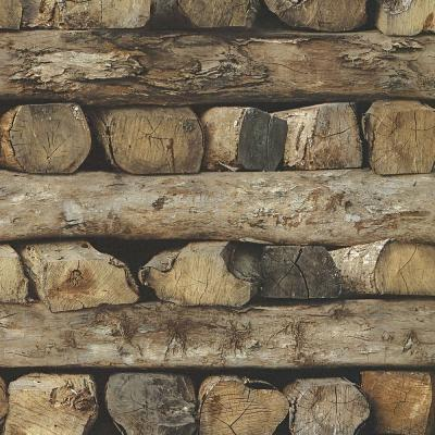 56.4 sq. ft. Bighorn Brown Logs Wallpaper