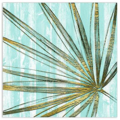 """Beach Frond in Gold II"" by EAD Art Coop Frameless Free-Floating Tempered Art Glass Wall Art"