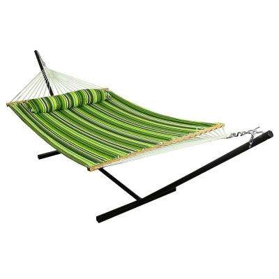 10-3/4 ft. Quilted 2-Person Hammock with 12 ft. Stand in Melon Stripe
