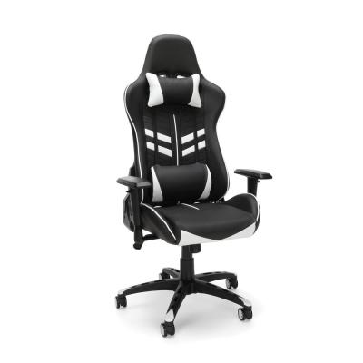 Essentials Collection White Racing Style Bonded Leather Gaming Chair