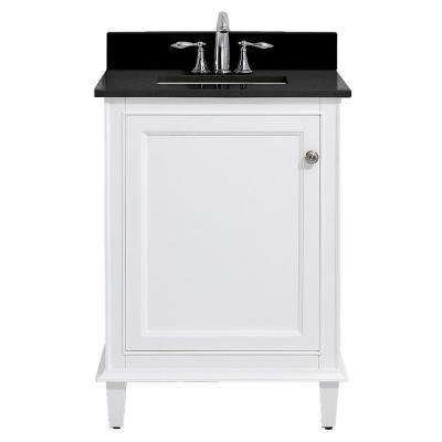 Riverpine 25 in. W x 22 in. D Bath Vanity in White with Granite Vanity Top in Midnight Black with White Sink