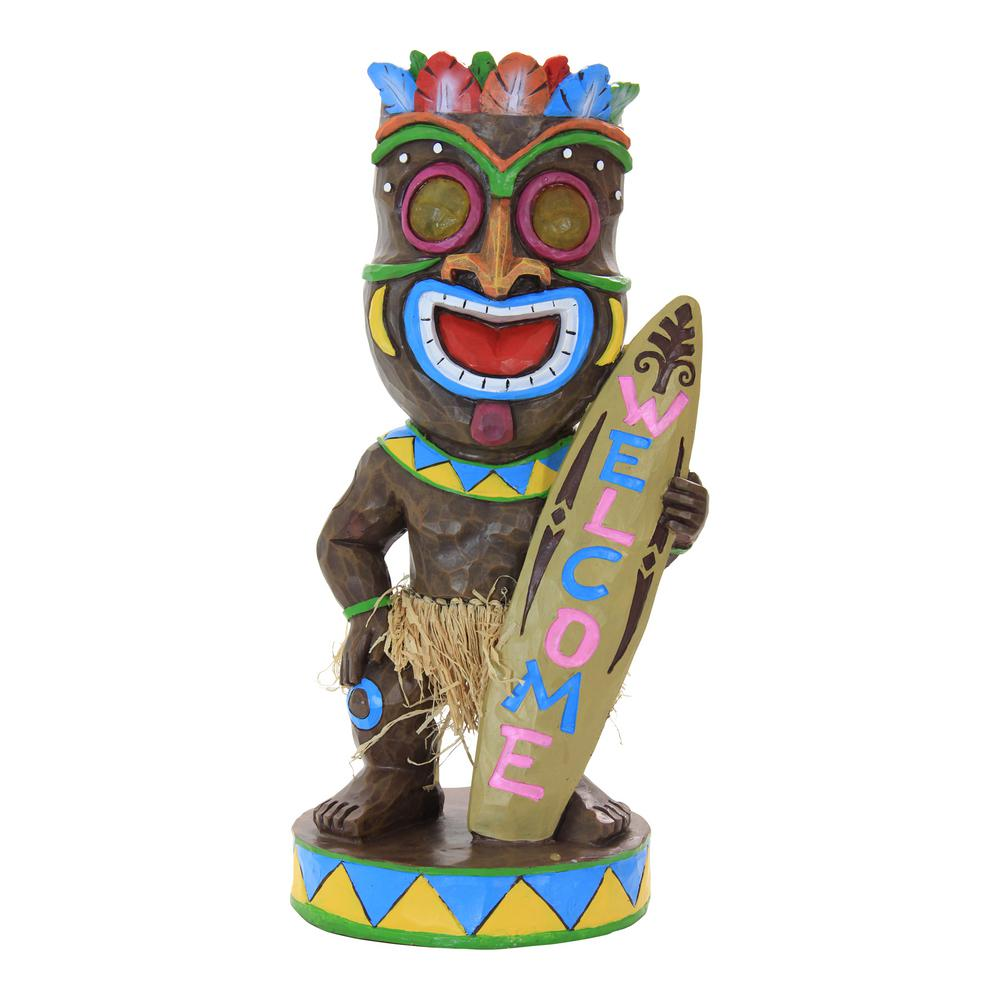Exhart Solar Tiki Statue with Surf Board-11930 - The Home ...