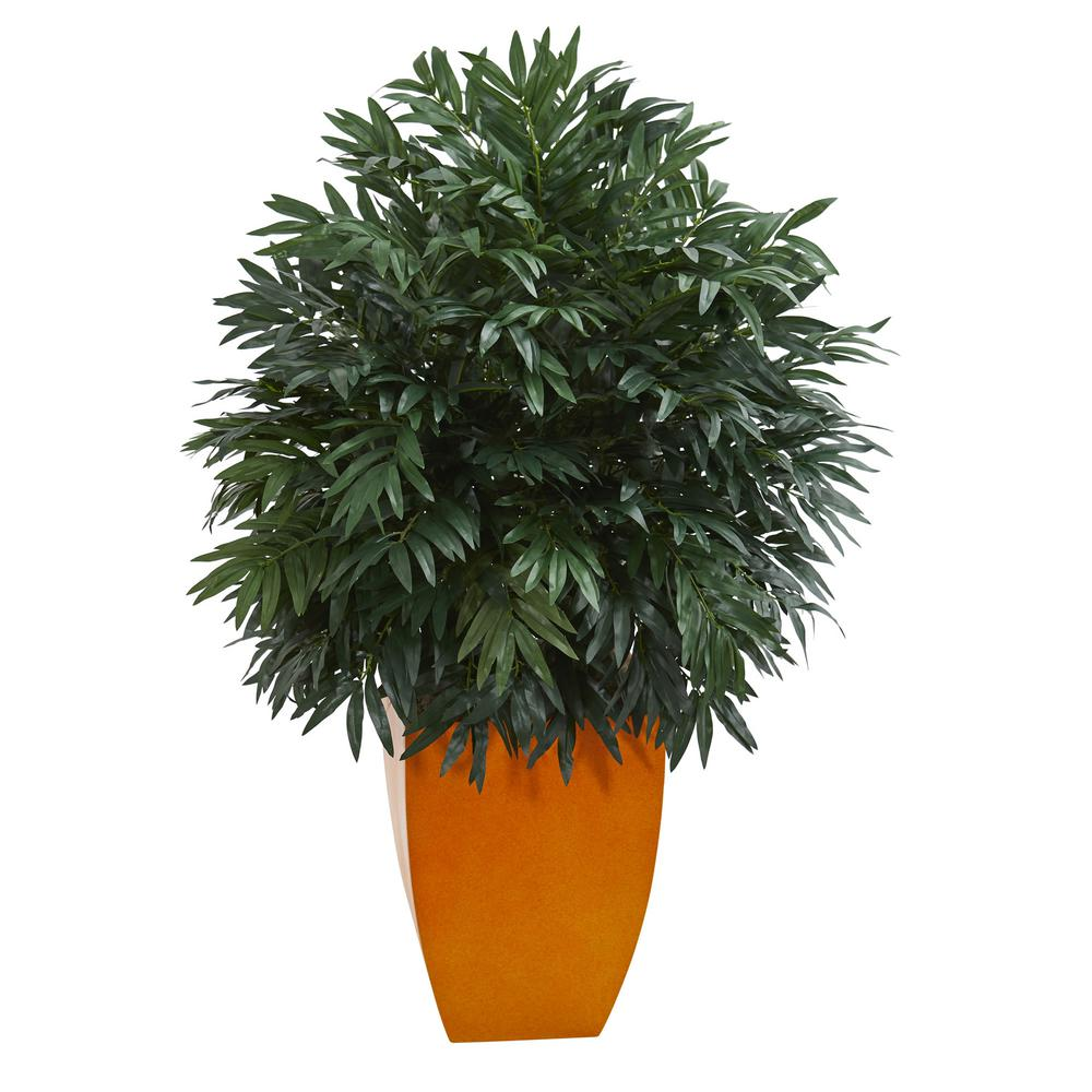 4 ft. Indoor Triple Bamboo Artificial Plant in Orange Planter