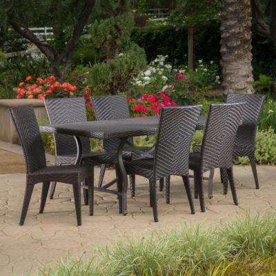 Dudley Multi-Brown 7-Piece Wicker Outdoor Dining Set