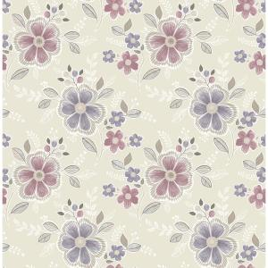 Chloe Purple Floral Wallpaper
