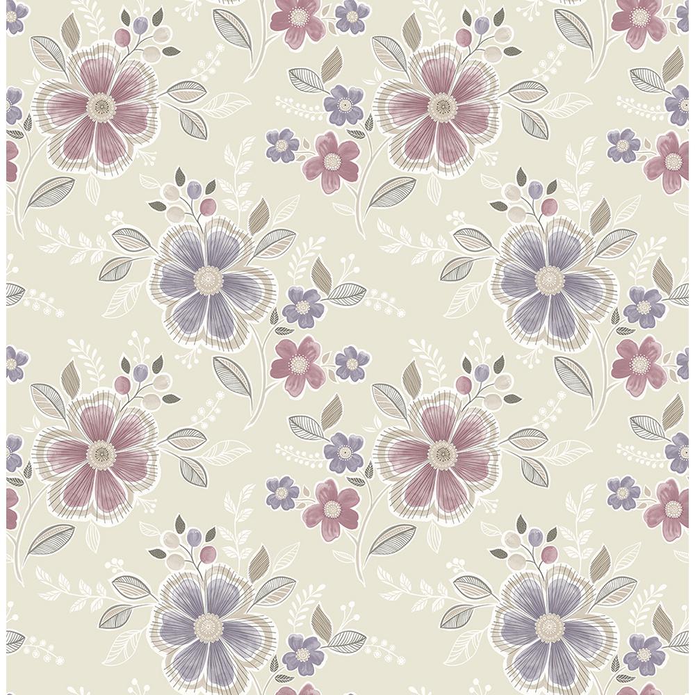 A-Street Chloe Purple Floral Wallpaper 2657-22203