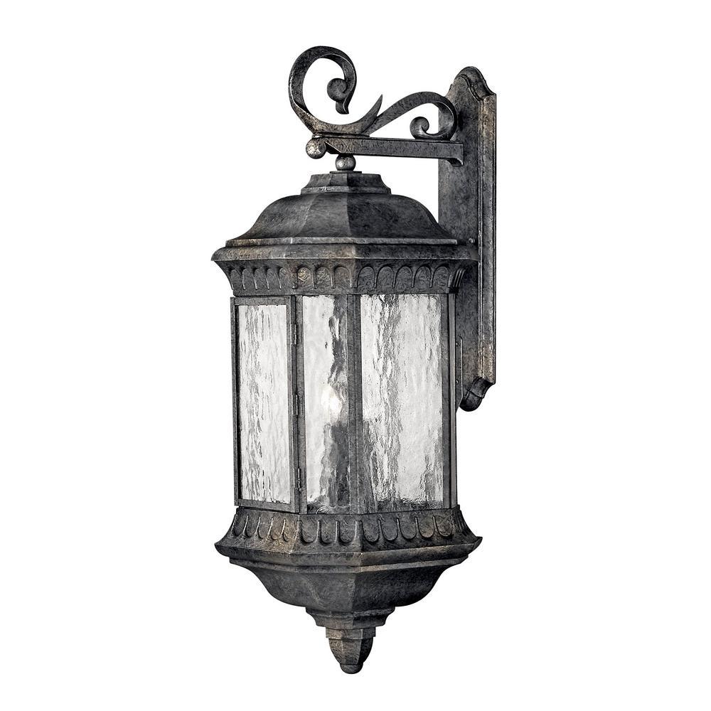 Regal Large 4-Light Black Granite Outdoor Wall Lantern