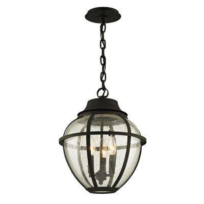 Troy lighting hardwired outdoor hanging lights outdoor ceiling bunker hill vintage bronze 3 light 13 in w outdoor hanging light with clear aloadofball Images