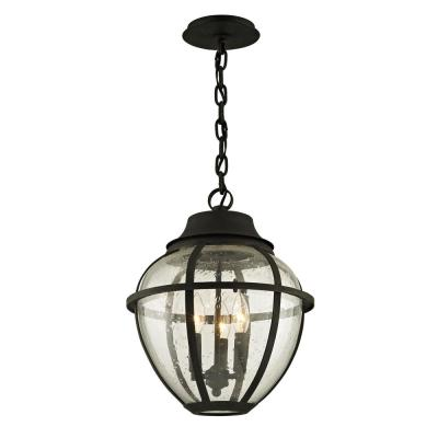 Bunker Hill Vintage Bronze 3-Light 13 in. W Outdoor Hanging Light with Clear Seeded Glass
