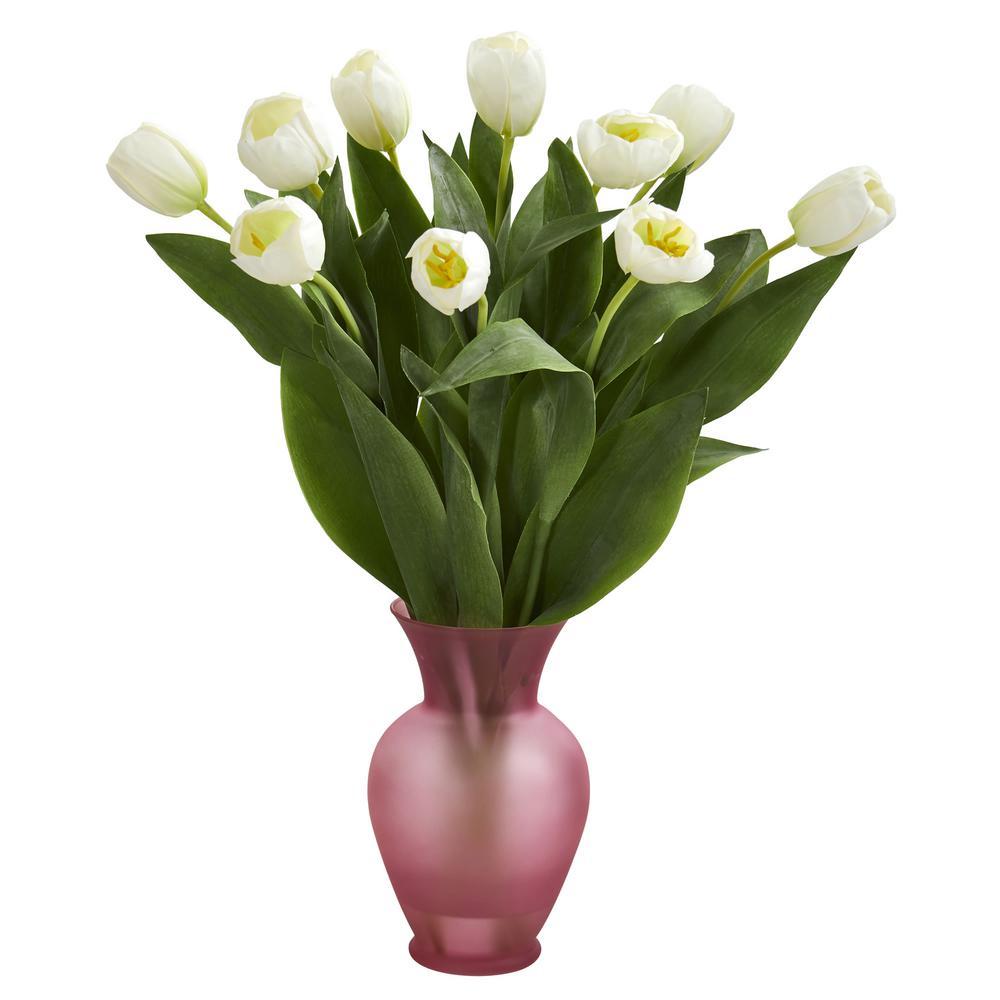Indoor Tulips Artificial Arrangement in Pink Vase