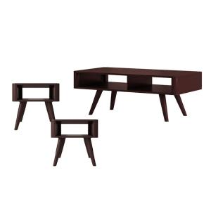 Clare In Espresso Brown 3 Piece Mid Century Modern Wood Table Set