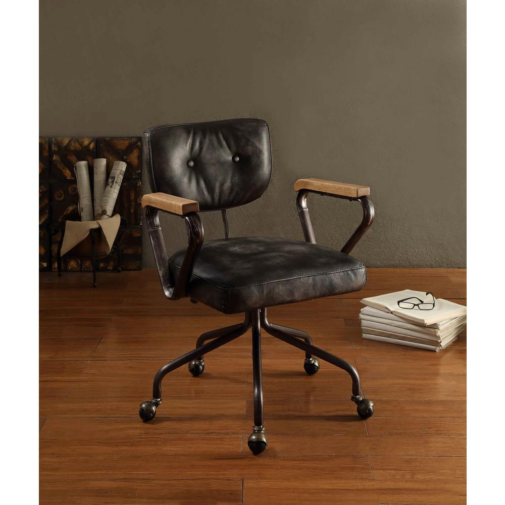 acme furniture hallie top grain leather office chair in vintage black