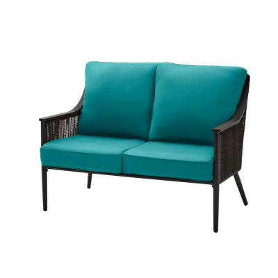 Bayhurst Black Wicker Outdoor Patio Loveseat with Sunbrella Peacock Blue-Green Cushions