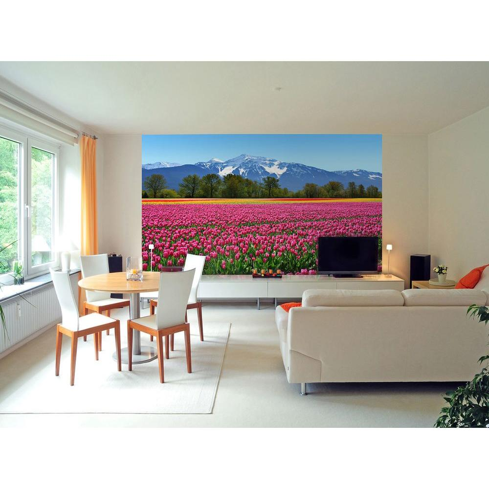 Ideal Decor 100 in. x 0.25 in. Tulips Wall Mural