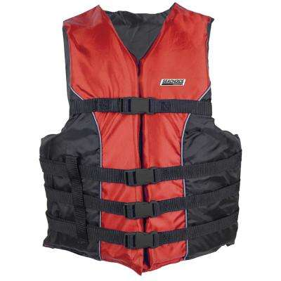 Deluxe Type III 3X-Large/4X-Large Size 4-Belt Ski Vest, Red