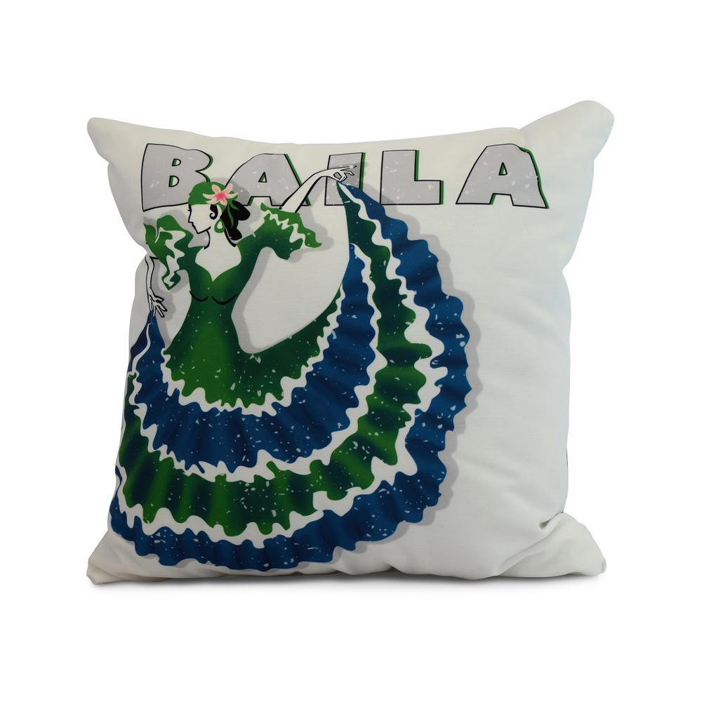 green decorative word throw pillow