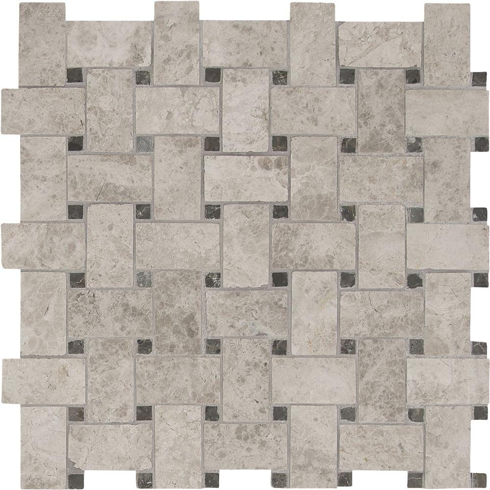 White Grey Basketweave Pattern Mable Stone Mosaic Tile Kitchen Wall Backsplash