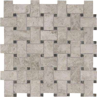 Tundra Gray Basketweave 12 in. x 12 in. x 10 mm Polished Marble Mesh-Mounted Mosaic Floor and Wall Tile