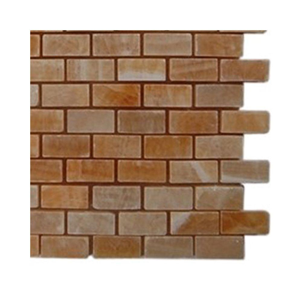 Splashback Tile Honey Onyx Brick Marble Floor and Wall Tile - 6 in. x 6 in. Tile Sample-DISCONTINUED