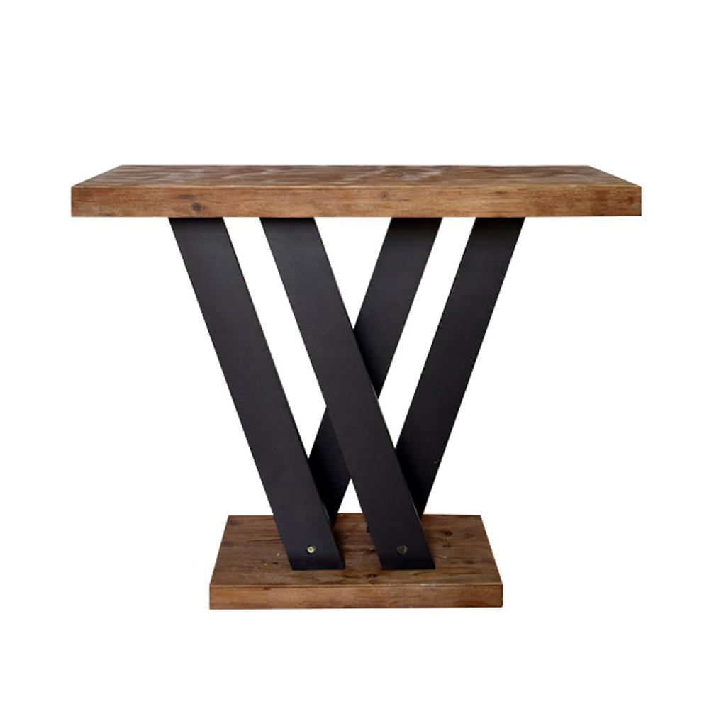 Brown Dark Grey Wood Console Table