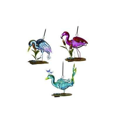 Solar Powered LED Multi-Color Metal Mini Bird Planter Light