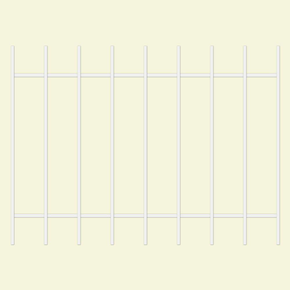 Unique Home Designs Guardian 48 in. x 36 in. White 9-Bar Window Guard-DISCONTINUED