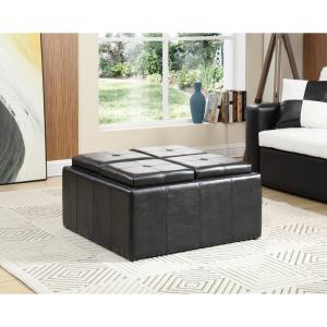 Tremendous Hodedah Faux Leather Storage Black Ottoman With 4 Flip Over Bralicious Painted Fabric Chair Ideas Braliciousco