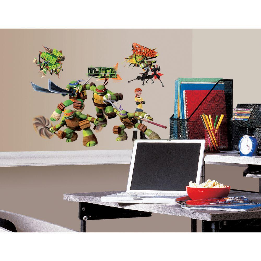 null 10 in. x 18 in. Teenage Mutant Ninja Turtles 30-Piece Peel and Stick Wall Decals
