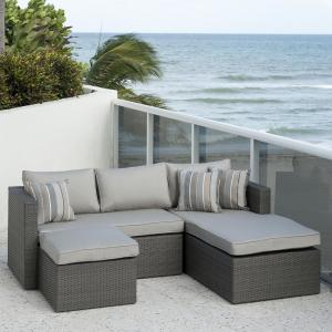 Atlantic Allen Grey 3-Piece Wicker Outdoor Sectional Set with Sunbrella Cushions by