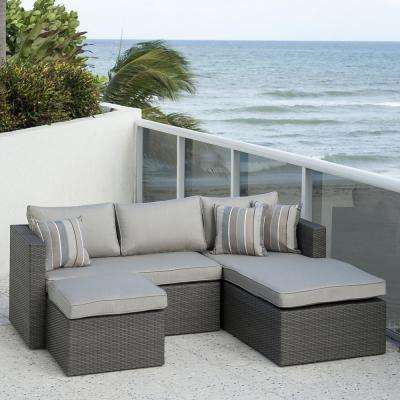 Allen Grey 3-Piece Wicker Outdoor Sectional Set with Sunbrella Cushions