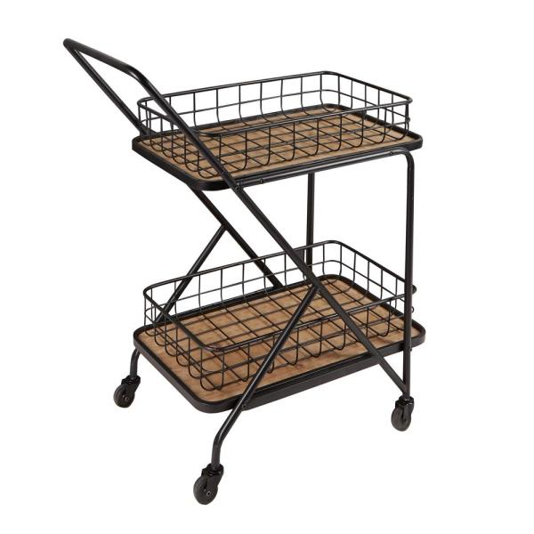 Silverwood Alex Asymmetrical Black Bar Cart CPFK1738