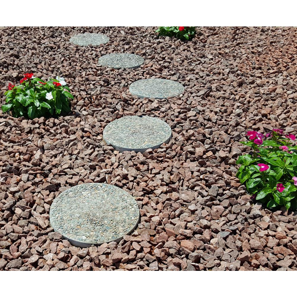 Classic Stone 12 in. x 1.5 in. Round Exposed Aggregate ... Stepstone