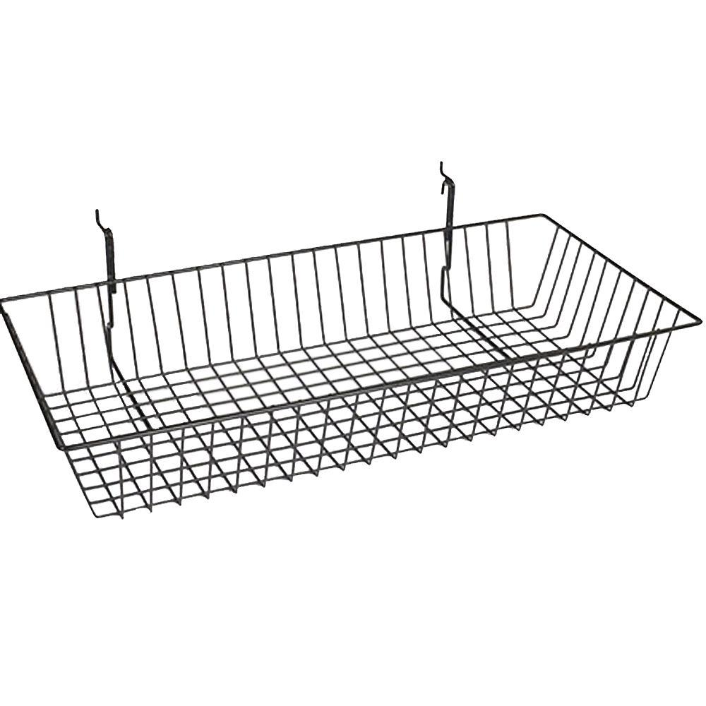 24 in. x 12 in. x 4 in. Black Slatwall Basket