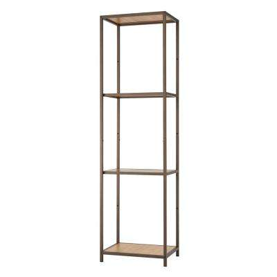 15 in. W x 20 in. D Bronze Anthracite Bamboo Tower Decorative Shelf