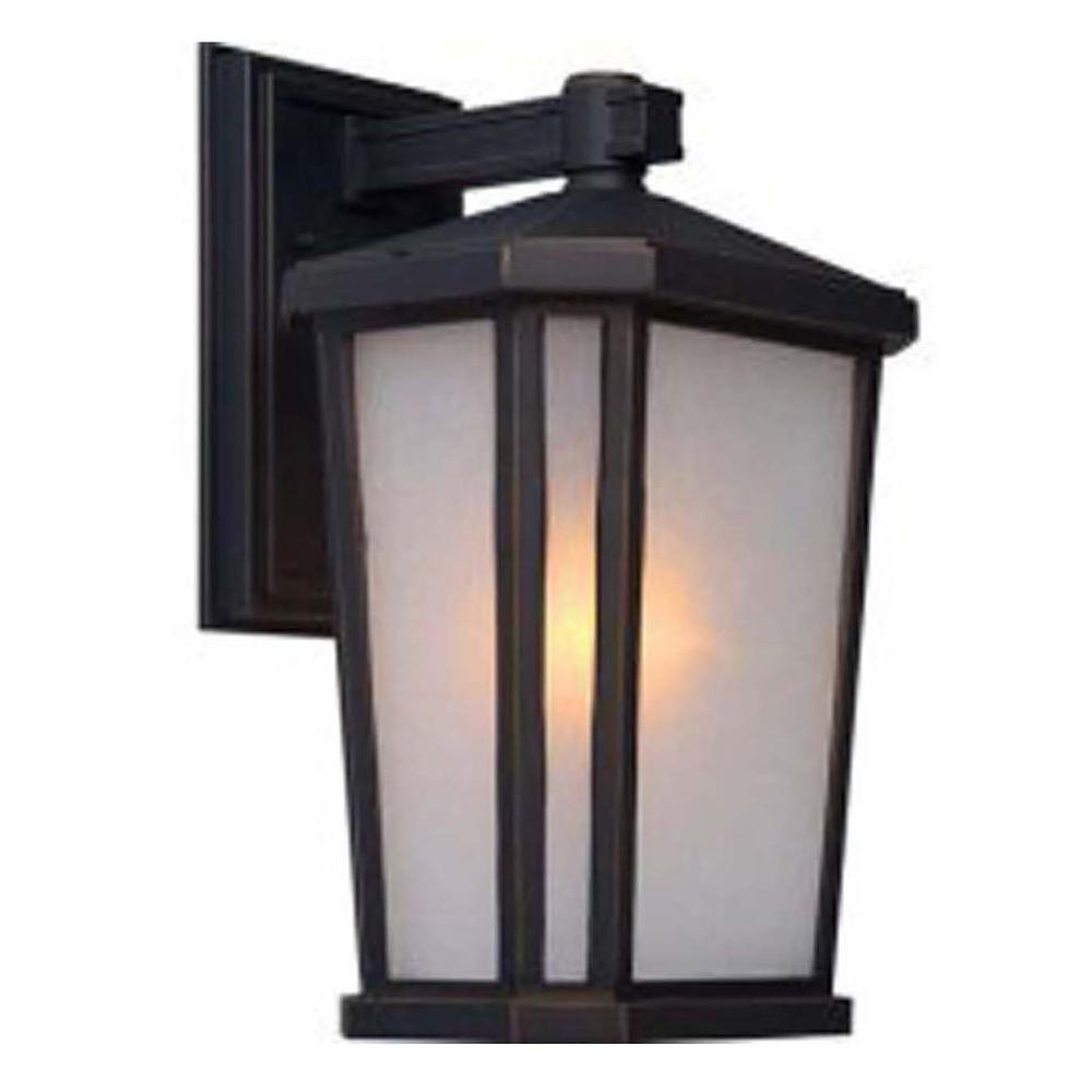 Globe Electric Charlie Collection 1 Light Oil Rubbed Bronze LED Outdoor Wall Sconce With Clear Seeded Glass Shade Bulb Included 44127
