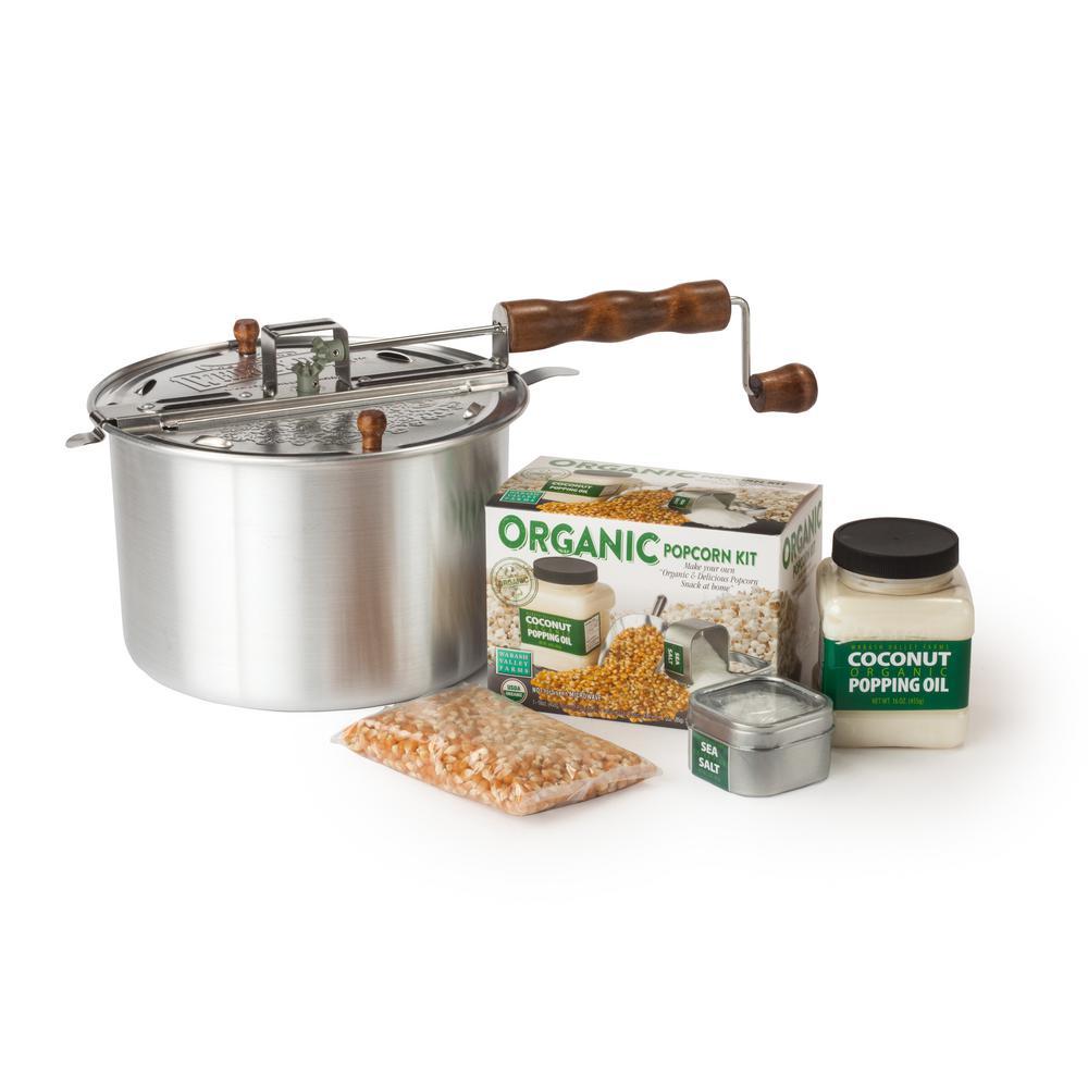 4-Piece Aluminum Silver Stovetop Popcorn Popper Set with DIY Organic Popcorn Kit