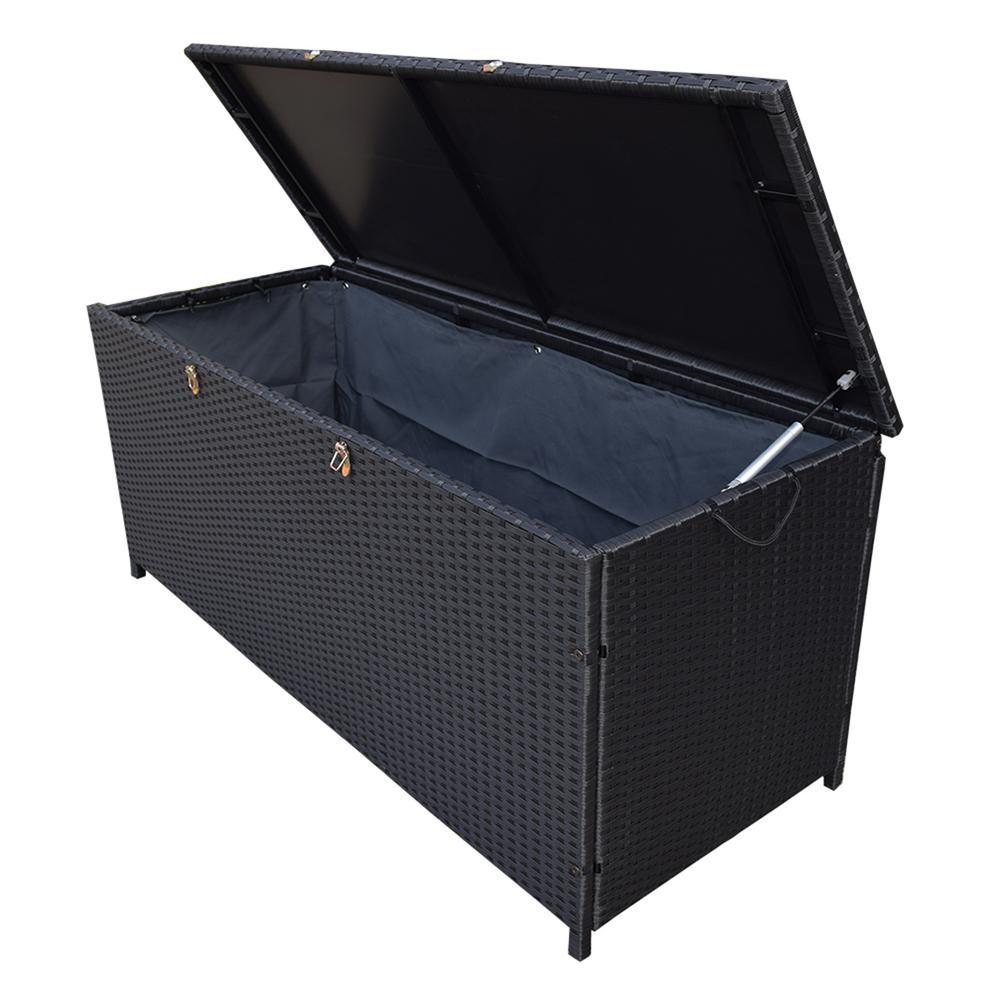 Black Indoor and Outdoor Balcony Patio Deck Porch Pool Wicker Storage Box Trunk Bin