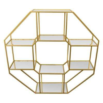 36 in. Gold Metal Wall Rack with Mirrors