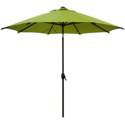 9 ft. Market Patio Umbrella Steel Pole with Auto Tilt and Crank, Lime Green (8-Ribs)