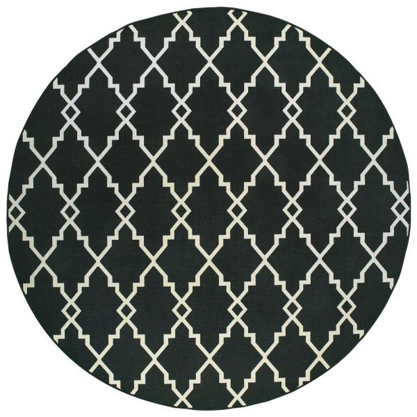 Sienna Chainlink Black-Ivory 7 ft. 10 in. x 7 ft. 10 in. Round Indoor/Outdoor Area Rug