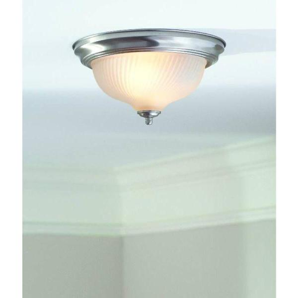 Hampton Bay 11 In 2 Light Brushed Nickel Flush Mount With Frosted Swirl Glass Shade Fzp8012a The Home Depot