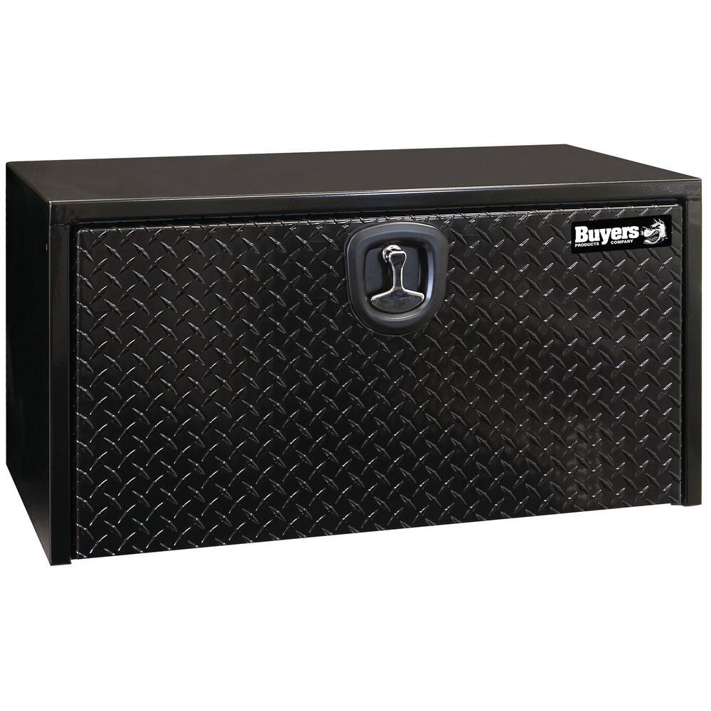 36 in. Black Steel Underbody Tool Box with Aluminum Diamond Tread Door