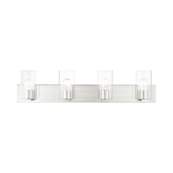 Zurich 4.5 in. 4-Light Brushed Nickel Vanity Light with Glass Shades