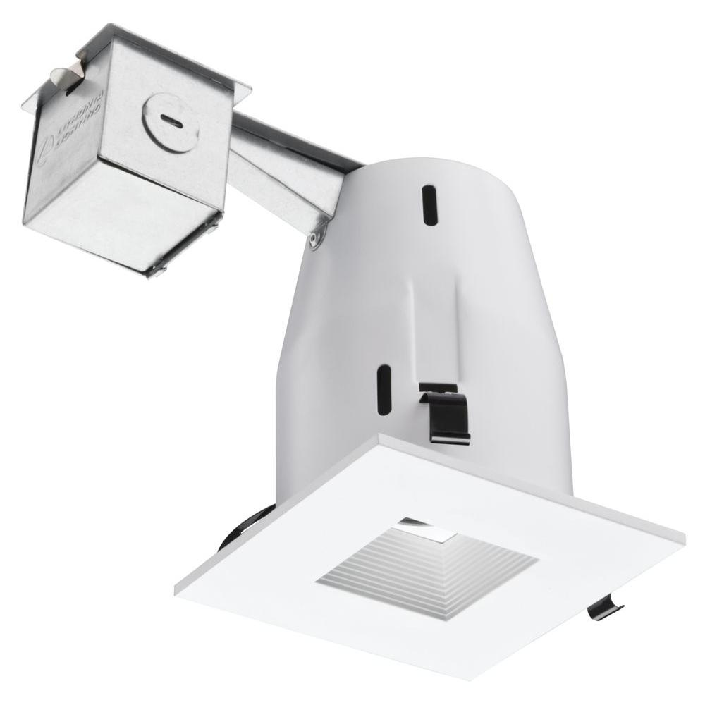 Lithonia Lighting 4 In Matte White Recessed Square Lamped Led Kit