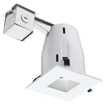 4 in. Matte White Recessed Square Lamped LED Lighting Kit
