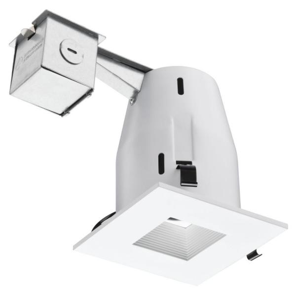 Lithonia Lighting 4 in. Matte White Recessed Square Lamped LED Lighting Kit
