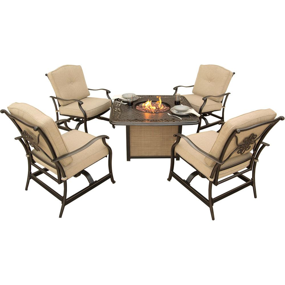 Concord 5 Piece Aluminum Outdoor Conversation Set With Tan Cushions And Cast Top Fire Pit Table