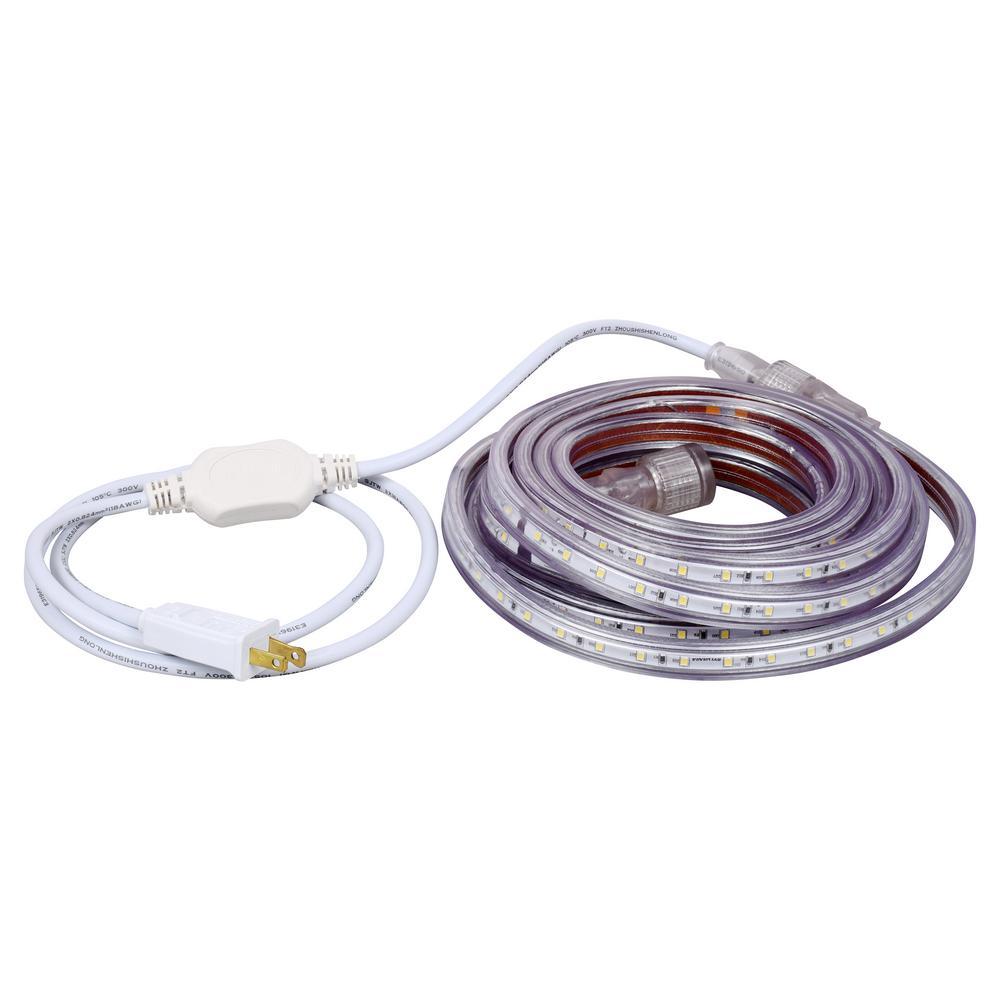 Sylvania 16.4 ft. 30-Watt Plug-In Outdoor Flex LED Landscape Lighting Set Deck Rail Light Daylight White 6500K, White